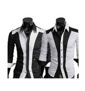Men Black & White Shirt MS-ZGA_028