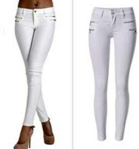 Women Plain White Jeans