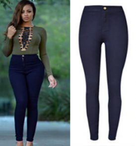 Women Plain Navy Blue Jeans