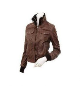 Ladies Leather Bomber Jacket in Brown
