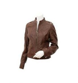 Ladies Leather Biker Jacket in Brown