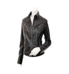 Ladies Leather Biker Jacket in Black