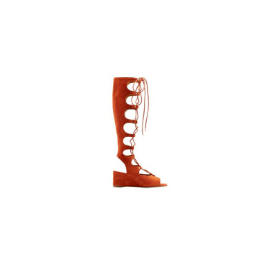Women Open Toe Faux Suede Lace up Knee High Gladiator Sandals