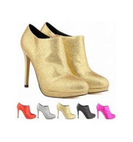 ladies platform high heels ankle boots faux suede shoes WSH-WW_806H-1 GLITTER